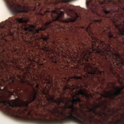 Very Chocolate Cookies Recipe - Chocolate chocolate chip drop cookies -- begging for a glass of cold milk.