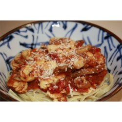 Herbed Chicken Pasta Recipe - Tender strips of chicken are sauteed with mushrooms, onions, garlic and basil, with a handful of chopped tomatoes tossed in to finish the sauce. Serve this aromatic medley over your favorite pasta and sprinkle with Parmesan cheese.