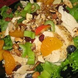 The Really Good Salad Recipe with Pieces of Fruit Recipe - Garden salad with fruit, cooked sugared almonds, and an oil and vinegar dressing.