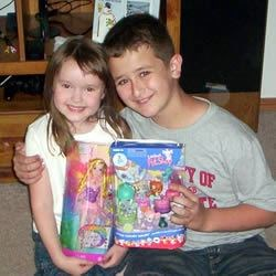 My son and my niece celebrating her birthday.