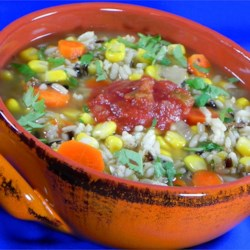 Santa Fe Wild Rice Soup Recipe - Frozen corn, chopped onions and carrots are simmered in chicken broth with wild rice and spices in this soup best served when garnished with fresh salsa.