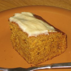 Sara's Pumpkin Gingerbread with melted cream cheese icing