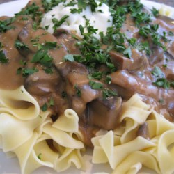 Portobello Mushroom Stroganoff Recipe - This is a rich and meaty vegetarian stroganoff made with portobello mushrooms, and served over egg noodles. It is quick to make, and tastes delicious.