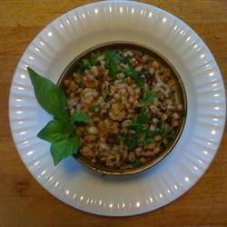 Mediterranean Barley Salad Recipe and Video - A great chilled whole-grain salad to serve with grilled chicken, or on its own for lunch. Can be improved with a combination of whole grains, but the barley works on its own.