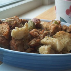 Bread and Celery Stuffing Recipe and Video - A basic bread stuffing which incorporates a generous amount of chopped celery, onion and seasonings yielding enough to dress a 10 to 15 pound turkey.