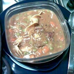 Beef Stew III Recipe - A can of beefy mushroom soup is added to this corn starch thickened beef, carrot and potato stew.