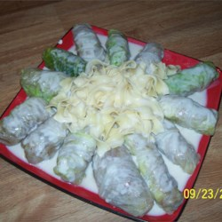 Ukrainian Meat Filled Cabbage Rolls Recipe - In Ukrainian kitchens, cabbage leaves are often used as cases for soft fillings. These rolls are a little different, because the leaves are filled with a meat stuffing and not primarily a cereal mixture. This makes them 'holiday' fare. For a different flavor, use tomato juice instead of chicken broth.