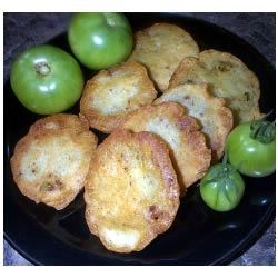 Spicy Fried Green Tomatoes Recipe - A quick snack or appetizer during the hot summer months. Old time family recipe. If you like fried zucchini you will like this.