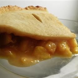 Fresh Peach Pie Recipe - Fresh peaches in a pre-cooked pie crust with a filling of lemon and orange juice, sweetened and thickened. Top with whipped cream. Filling can also double as cake filling.
