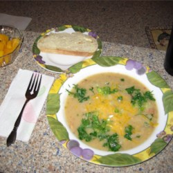 Potato Soup IX Recipe - A delicious soup that makes a meal with some nice fresh bread! Homey and comforting! Try adding shredded Cheddar cheese just before serving.