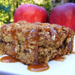 Apple Butter Spice Cake Recipe - Apple butter and sour cream make this cake sweet and tangy. The cinnamon-pecan topping takes it over the top!