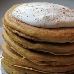 Pumpkin Pancakes with Nutmeg Whipped Cream Recipe - We make this every year for Halloween dinner.  It would also be good for Thanksgiving morning breakfast and the whipped cream would be great on pumpkin pie.