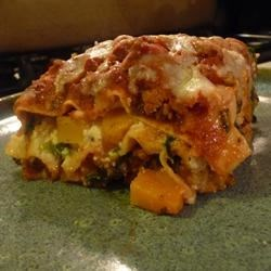 Turkey Lasagna with Butternut Squash, Zucchini, and Spinach Recipe - A meat sauce made with ground turkey is layered with butternut squash, zucchini, and spinach in this spin on the classic Italian favorite.