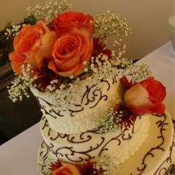 Burnt Orange Rose and Brown Scrolls