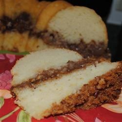 Streusel Apple Coffeecake Recipe - Wonderfully moist coffee cake with a layer of apples and streusel in the middle and more streusel on top. Very good.