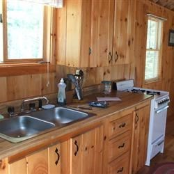 The kitchen at our camp in Rangeley Plantation, Maine