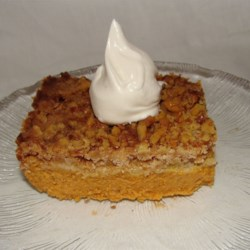 Pumpkin Pie Cake I Recipe - Almost like a pumpkin pie cobbler. Rich and yummy. Try it warm from the oven with a scoop of vanilla ice cream.