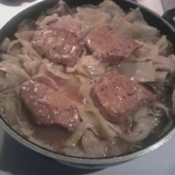 Simple Pork and Cabbage Skillet Recipe - This is a simple and hearty meal full of pork, cabbage and apples, for a chilly day.