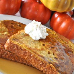 Pumpkin Pie French Toast Recipe - Pumpkin pie lovers rejoice! Now you can have your pie for breakfast.