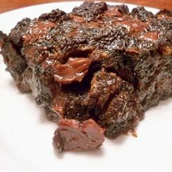 Double Chocolate and Spice Bread Pudding Recipe - A rich, moist chocolate bread pudding flavored with cinnamon chips, and drizzled with a cinnamon glaze.