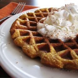 Cinnamon Pumpkin Waffles Recipe - Pumpkin pie for breakfast? That's what it's like eating these yummy waffles!