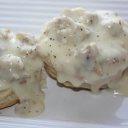 Sausage Gravy III Recipe - This is a simple and great recipe for sausage gravy that you can serve over hot biscuits. This is a great breakfast treat. Hearty and delectable.