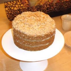 Oatmeal Cake I Recipe - A good, moist, oatmeal  cake with a broiled coconut topping.
