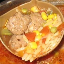 Hearty Meatball Soup II Recipe - Miniature meatballs with vegetables and pasta shells. You will love this soup.