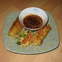spring rolls with sesame gingered soy