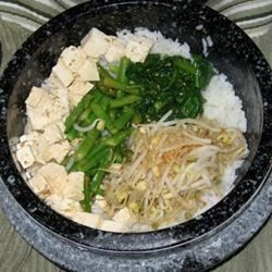 dolsot with tofu, sprouts, spinach, and asparagus