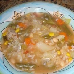 Homemade Vegetable Soup Recipe - A mixture of chicken broth and vegetable stock serves as the base for a variety of vegetables and some great Northern beans for a hearty soup.