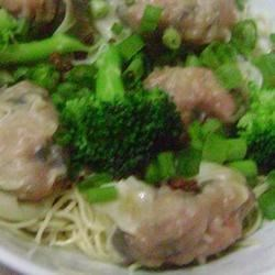 Wonton Noodle Soup Recipe - Wontons are made stuffed with shrimp, celery and green onion, then boiled and served with Chinese noodles smothered in hot chicken broth.