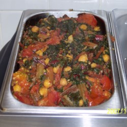 Swiss Chard with Garbanzo Beans and Fresh Tomatoes