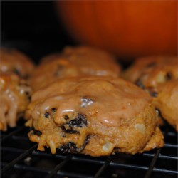 Pumpkin Raisin Cookies Recipe - A wonderful cakelike pumpkin cookie that fills your kitchen with a heavenly smell and uses up leftover pumpkin.