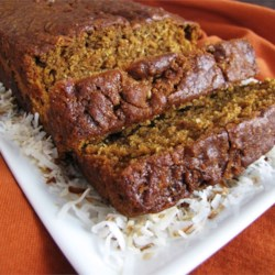 Coconut Pumpkin Nut Bread Recipe - An already great pumpkin-nut bread gets an intriguing new flavor from coconut milk and unsweetened coconut.