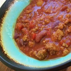 Washabinaros Chili Recipe - This thick chili with sausage, ground beef, tomatoes, coffee and beer is also spiced with wasabi!