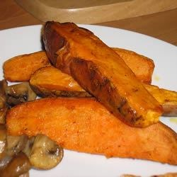 Baked Sweet Potato Sticks Recipe - Best eaten at room temperature.