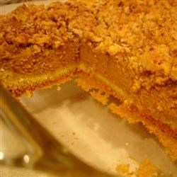 Pumpkin Dessert Recipe - Yellow cake mix takes the place of crust in this pumpkin dessert reminiscent of a pumpkin pie in a dish.