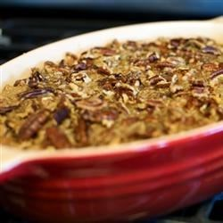 Yummy Sweet Potato Casserole Recipe - A delicious mashed sweet potato casserole with a crunchy pecan topping. Easy to make-ahead, this recipe bakes in only 30 minutes.
