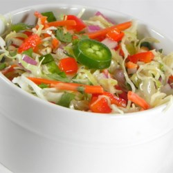 Spicy Southwestern Slaw Recipe - This is a spicy, flavorful coleslaw speckled with diced jalapenos, red bell pepper and cilantro.