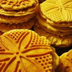 Pizzelles I Recipe - You must have a pizzelle iron to make these wafer thin cookies.  My pizzelle iron is the single cookie iron that you break into 4 triangles.