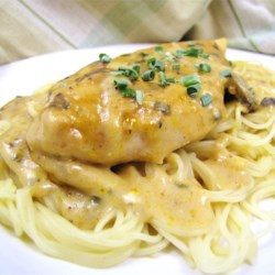 Angel Chicken Pasta Recipe and Video - Bake chicken breasts in a delectably rich sauce made of butter, dry Italian salad dressing mix, wine, golden mushroom soup and cream cheese with chives. Serve over angel hair pasta for a dish that is fit for your most elegant dinner parties.