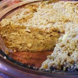 Bread Pudding Apple Pie Recipe - A delightful Pie that combines bread pudding and apples with a crumbly streusel topping.