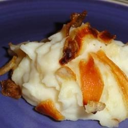 Mashed Potato Miracle Recipe - Creamy instant potatoes with fried onions.