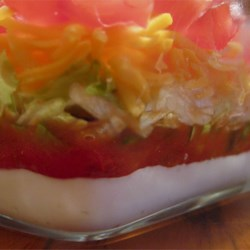 Mike's Taco Dip Recipe - A Southwestern-style layered dip that trips you up with a few surprise additions--soy sauce, for one!
