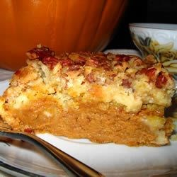Upside Down Pumpkin Cake Recipe - This has become my family's favorite desert at Thanksgiving, taking the place of pumpkin pie! Walnuts can be substituted for pecans.