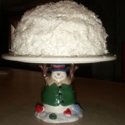 Snowball Cake I Recipe - A no-bake dessert using a ready-made angel food cake and ingredients that can be easily found in any store. It looks like a large snowball when finished.