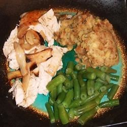 Roast Chicken with Stuffing & Beans