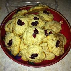 eggnog cookies topped with cranberries