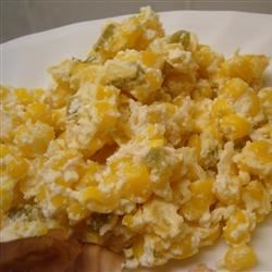 Jalapeno Corn Casserole Recipe - Corn is baked with cream cheese, evaporated milk and pickled jalapeno peppers.  This recipe calls for 1 jalapeno pepper; use more or less according to your taste.